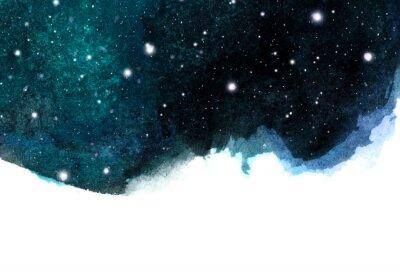 Vinilo Fondo de cielo nocturno acuarela con estrellas. Disposición cósmica con espacio para texto.