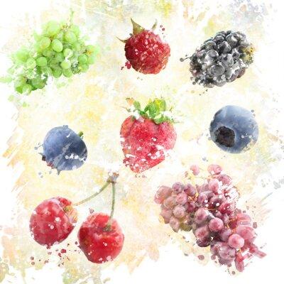 Vinilo Fondo de las frutas de la acuarela