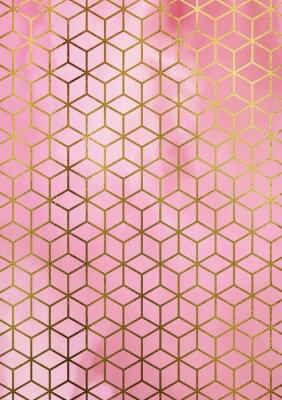 Vinilo Fondo de mármol de la acuarela con el modelo geométrico del cubo.