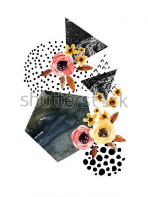 Vinilo Fondo de otoño: hojas caídas, flores, elementos geométricos. Ilustración de acuarela con hojas, triángulos, mármol, acuarelas, texturas de garabatos para el diseño de otoño. Acuarela pintada a mano de
