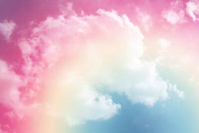 Vinilo Fondo de sol y nube con un pastel de color