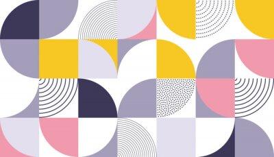 Vinilo Fondo de vector de patrón geométrico con color abstracto escandinavo o estampados de geometría suiza de rectángulos, cuadrados y círculos diseño de forma