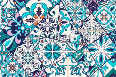 Vinilo Fondo decorativo del vector. Patrón mosaico mosaico para diseño y moda. Azulejos portugueses, azulejo, adornos marroquíes.