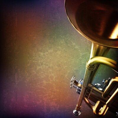 Vinilo Fondo del grunge abstracto con la trompeta