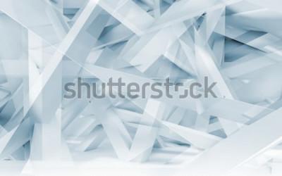 Vinilo Fondo digital abstracto, patrón poligonal de vigas caóticas azules y blancas. Ilustración 3d en tonos azules, gráfico de computadora