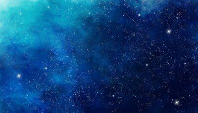 Vinilo Fondo espacio acuarela azul. Pintura de la ilustración