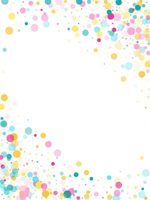 Vinilo Fondo festivo de confeti redondo de Memphis en azul cian, rosa y amarillo. Vector de patrón infantil.