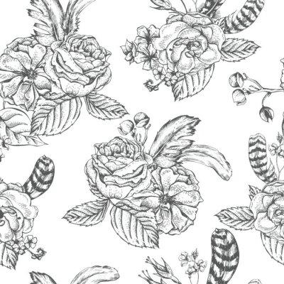 Vinilo Fondo floral sin fisuras con rosas y plumas