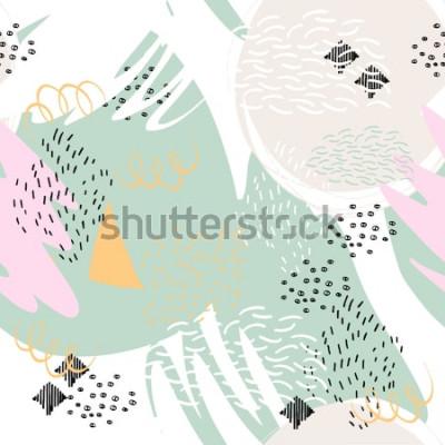 Vinilo Fondo geométrico abstracto con trazos de pincel en el estilo de Memphis. Patrón transparente de vector con elementos dibujados a mano. Colores pastel claros.