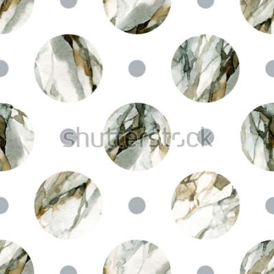 Vinilo Fondo geométrico abstracto. Pintura al agua color mármol. Acuarela círculo de patrones sin fisuras. Círculos con marmoleado coloreado, granuloso, texturas en papel. Ilustración pintada a mano