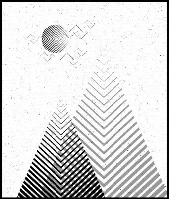 Vinilo Fondo geométrico del triángulo del vector, montañas abstractas. Fondo conceptual, con el diseño de mountains.Flat, con los elementos mínimos. Uso para la tarjeta, cartel, folleto, banner.Black y blanc