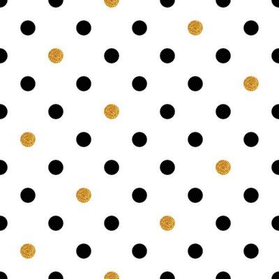 Vinilo Fondo inconsútil del punto de polca en colores del oro y del negro.
