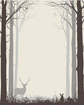 Vinilo Fondo natural con siluetas de árboles y animales