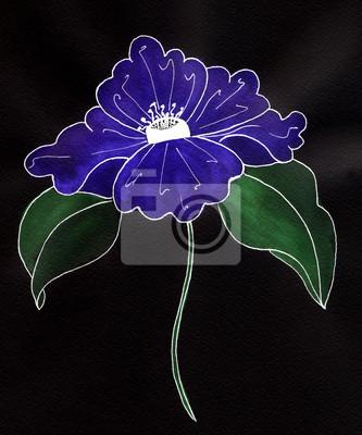 822329bce Fondo negro con la flor azul vinilos para portátiles • vinilos para ...