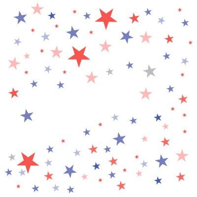 Vinilo Fondo patriótico de Estados Unidos en colores de la bandera con estrellas opacas desvanecidas dispersas sobre un fondo blanco