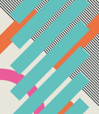 Vinilo Fondo retro abstracto 80s con formas geométricas y patrón. Diseño del material.