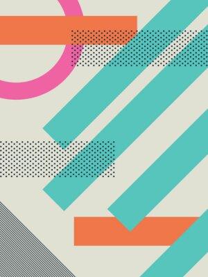 Vinilo Fondo retro abstracto 80s con formas geométricas y patrón. Papel pintado del diseño material.