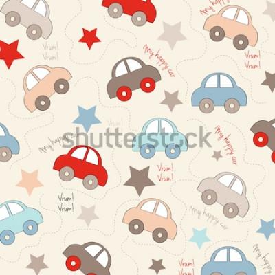 Vinilo Fondo transparente con coches, ilustración vectorial