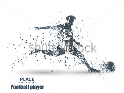 Vinilo Football player, kick a ball, particle divergent composition, vector illustration