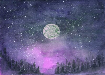 Vinilo Forest in the fog, hills. Silhouette of flying birds. Moon in starry sky. Hand-drawn, watercolor texture. Purple background.