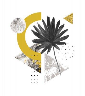 Vinilo Formas geométricas abstractas de verano, hojas exóticas. Triángulos rellenos de mármol, texturas grunge, garabatos, hoja de palmera de acuarela. Pintado a mano ilustración de arte geométrico en estilo