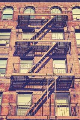 Vinilo Foto del estilo del vintage del edificio de Nueva York, los EEUU.