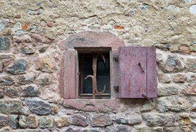Vinilo Francés, ventana, cerrado, viejo, medieval, madera, obturadores,