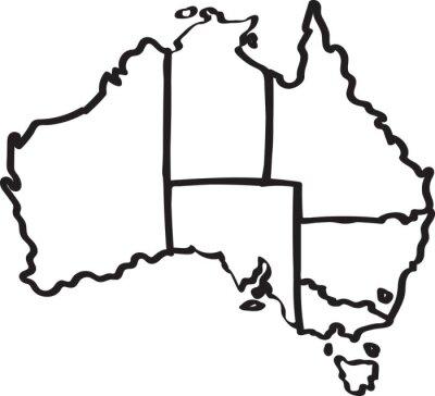 Vinilo Freehand mapa de la región de Australia esbozo sobre fondo blanco. Ilustración del vector.