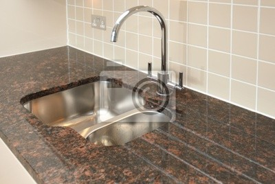 Fregadero de la cocina con encimera de granito vinilos - Fregaderos de granito para cocina ...