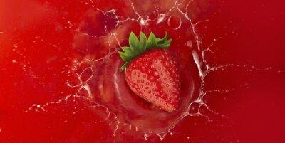 Vinilo Fresa salpicaduras en jugo de líquido rojo
