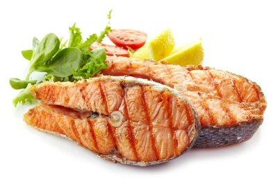 Vinilo fresco a la parrilla rebanadas de filete de salmón