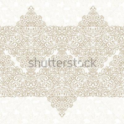 Vinilo Frontera específicamente del vector en estilo oriental. Elemento ornamentado para diseño y lugar para texto. Patrón de encaje ornamental para invitaciones de boda y tarjetas de felicitación. Decoracio