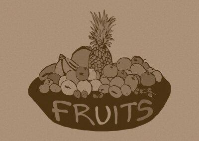 Vinilo Frutas Vintage cesta