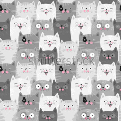 Vinilo Funny grey cats, cute seamless pattern background