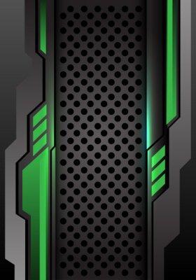 Vinilo Futurista gris oscuro verde abstracto en el ejemplo futurista moderno del vector del fondo del diseño de la malla del círculo.