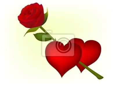vinilo galera de imgenes de dos corazones y rosas rojas