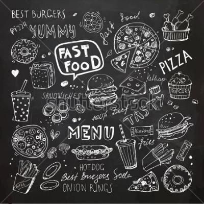 Vinilo Garabatos de comida rápida. Dibujado a mano vector de símbolos y objetos