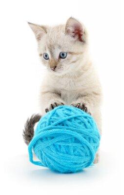 Vinilo Gato con la bola del hilado