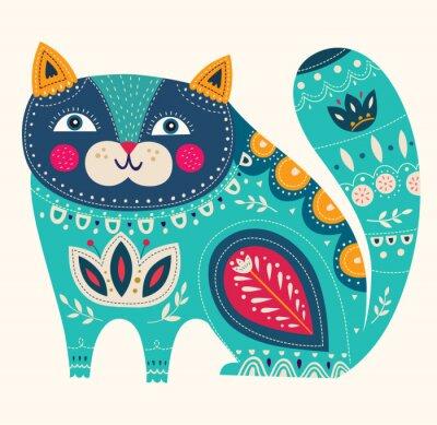 Vinilo Gato decorativo hermoso del vector en color azul