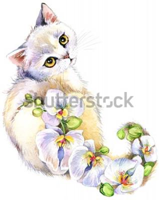 Vinilo Gato. Ilustración acuarela de flores.