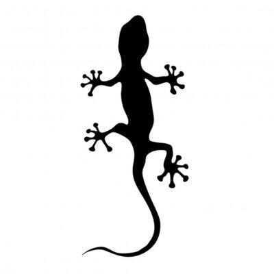 Vinilo Gecko en negro silueta ilustración vectorial