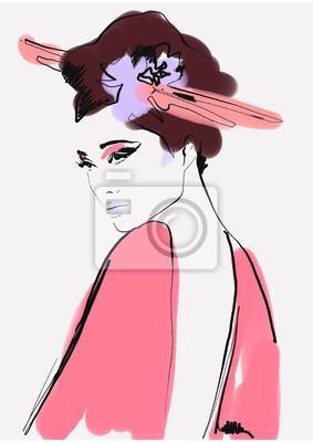 Vinilo geisha. woman in kimono. asian woman. fashion background.