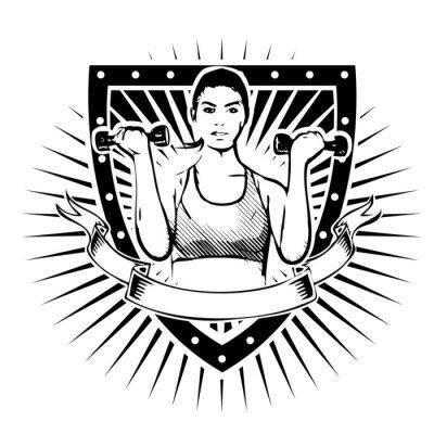 Vinilo gimnasio escudo mujer