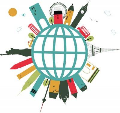 Vinilo globo viajar en blanco