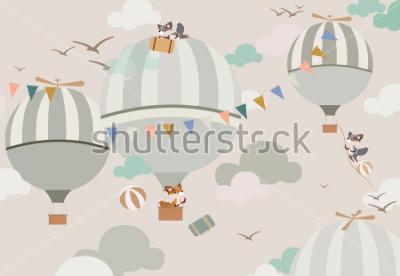 Vinilo globos en el cielo y los zorros en tonos suaves