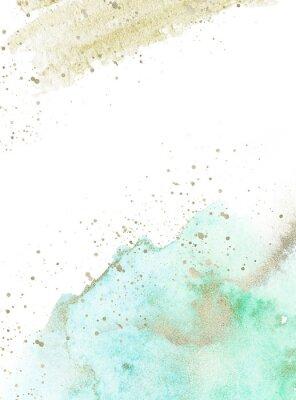Vinilo Gold, blue and turquoise watercolor texture design. Brush stroke frame / border. Shimmering modern art. Illustration.