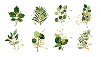 Vinilo Gold green tropical leaves wedding bouquet with golden splatters isolated on white background. Floral foliage vector illustration arrangement in watercolor style. Botanical art design