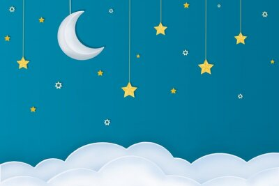 Vinilo Goodnight layout.  Paper arts of moon, stars and clouds on a blue background.