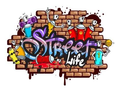 Vinilo Graffiti composición caracteres de palabra