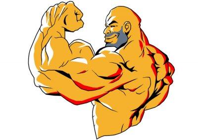 Vinilo grandes bíceps, ejemplo, color, logotipo, aislado en un blanco